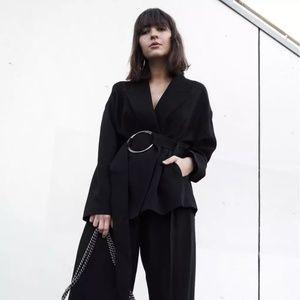 Zara Woman Studio Belted Pinstripe Blazer
